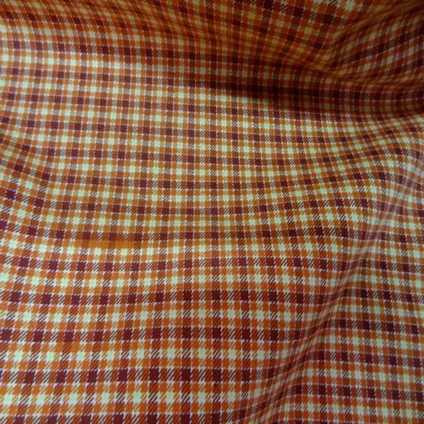 Gabardine a carreaux orange coton lycra0
