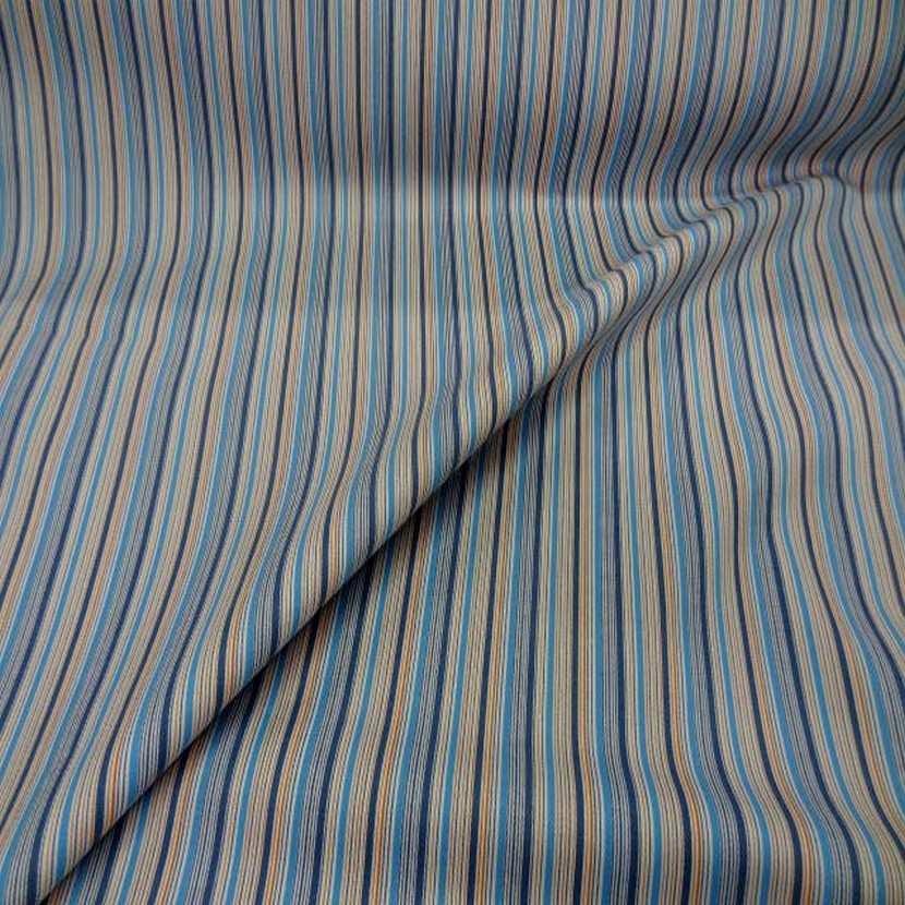 Gabardine coton lycra a rayures ton bleu en 1 35m