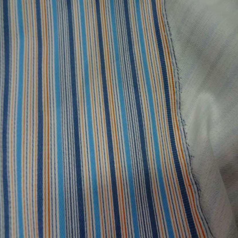 Gabardine coton lycra a rayures ton bleu en 1 35m6