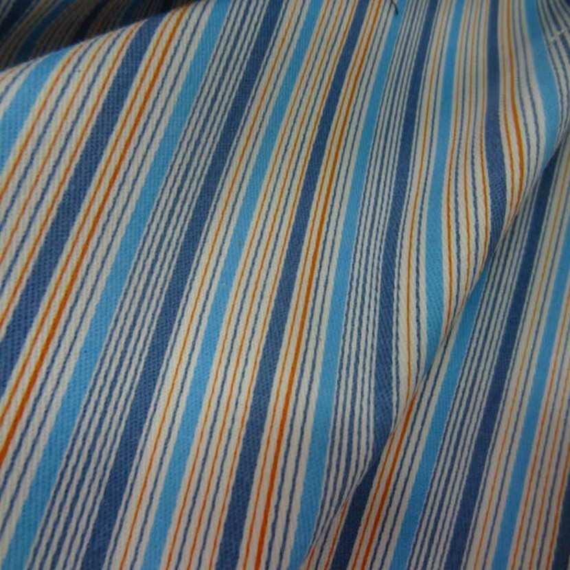 Gabardine coton lycra a rayures ton bleu en 1 35m8