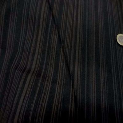 Gabardine coton lycra imprime rayures ton marron