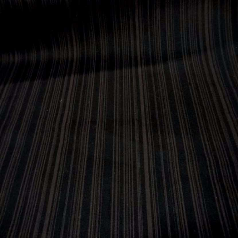Gabardine coton lycra imprime rayures ton marron1
