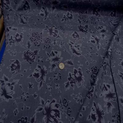 Gabardine coton lycra imprime ton sur ton prune9