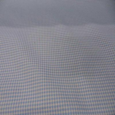 Gabardine coton lycra imprime vichy bleu blanc