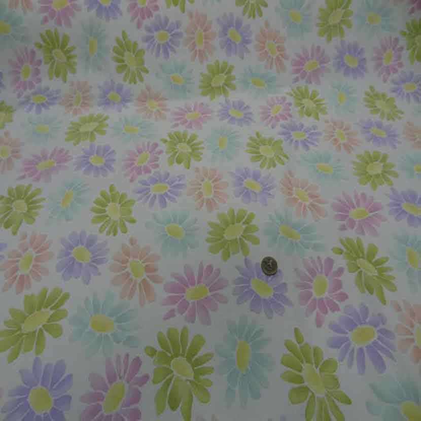 Gabardine lycra en coton blanche imprime fleurs4