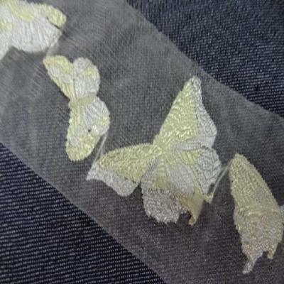 Galon d organza transparent avec des papillons brodes en 5 5cm