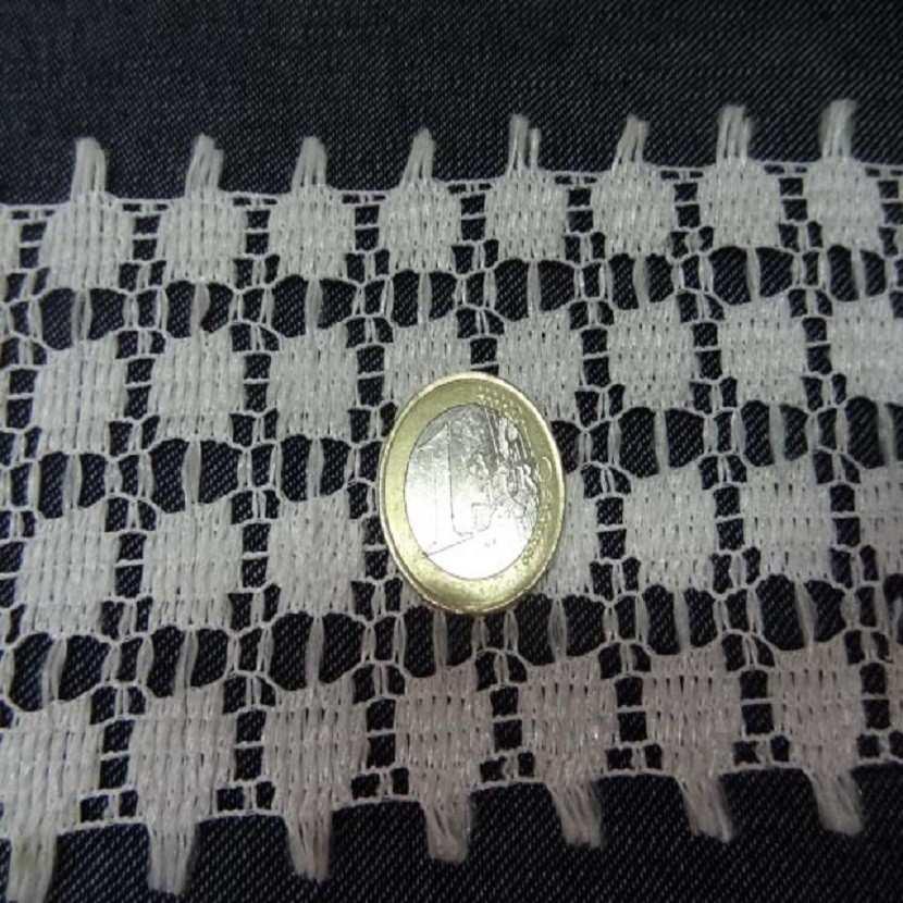 Galon de dentelle blanche aspect macrame en 4 5 cm