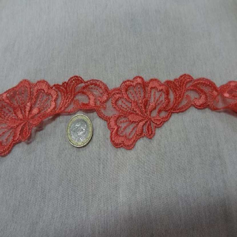 Galon de dentelle corail en 5cm de large7