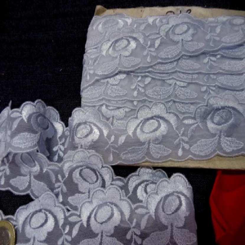 Galon de dentelle gris bleu en 4 cm7