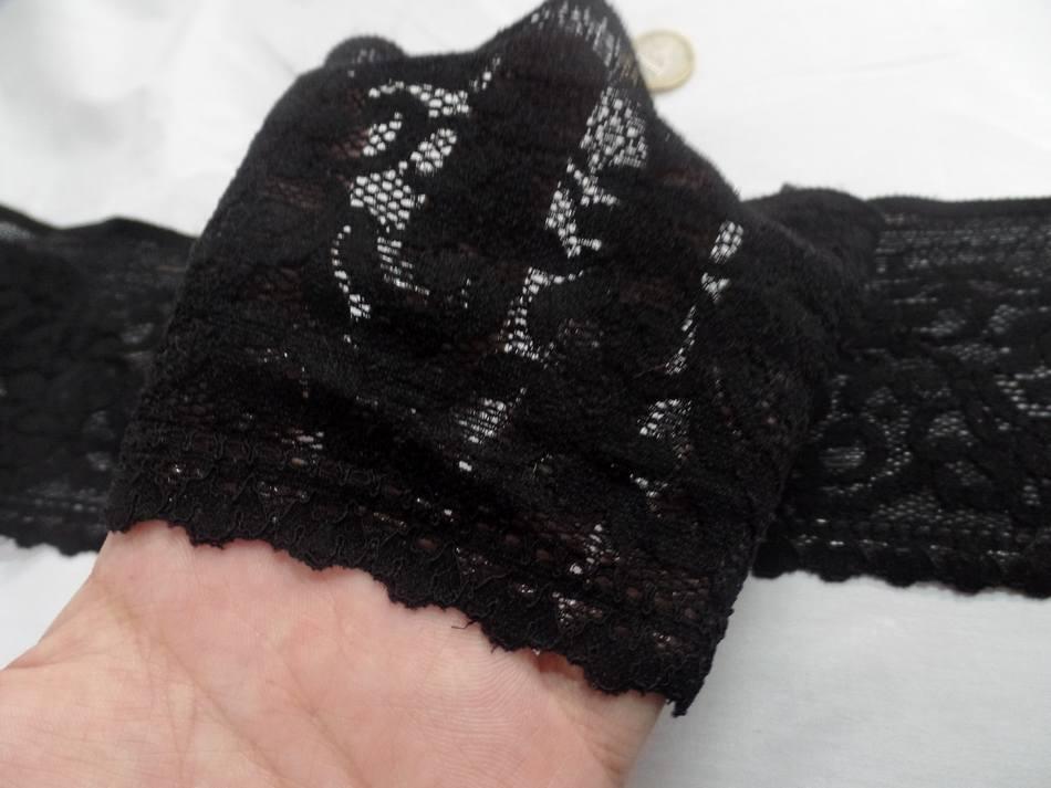 Galon de dentelle lycra noire adhesive en 11cm pas cher