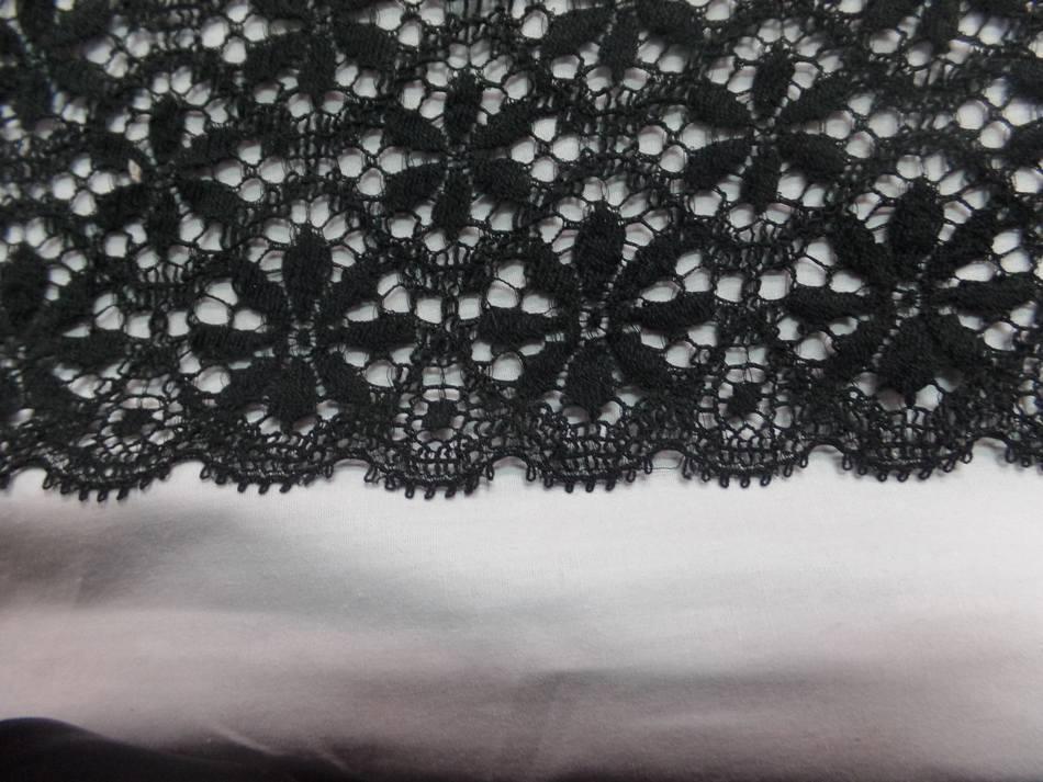 vente de galon de dentelle aspect coton non extensible noire en 26cm