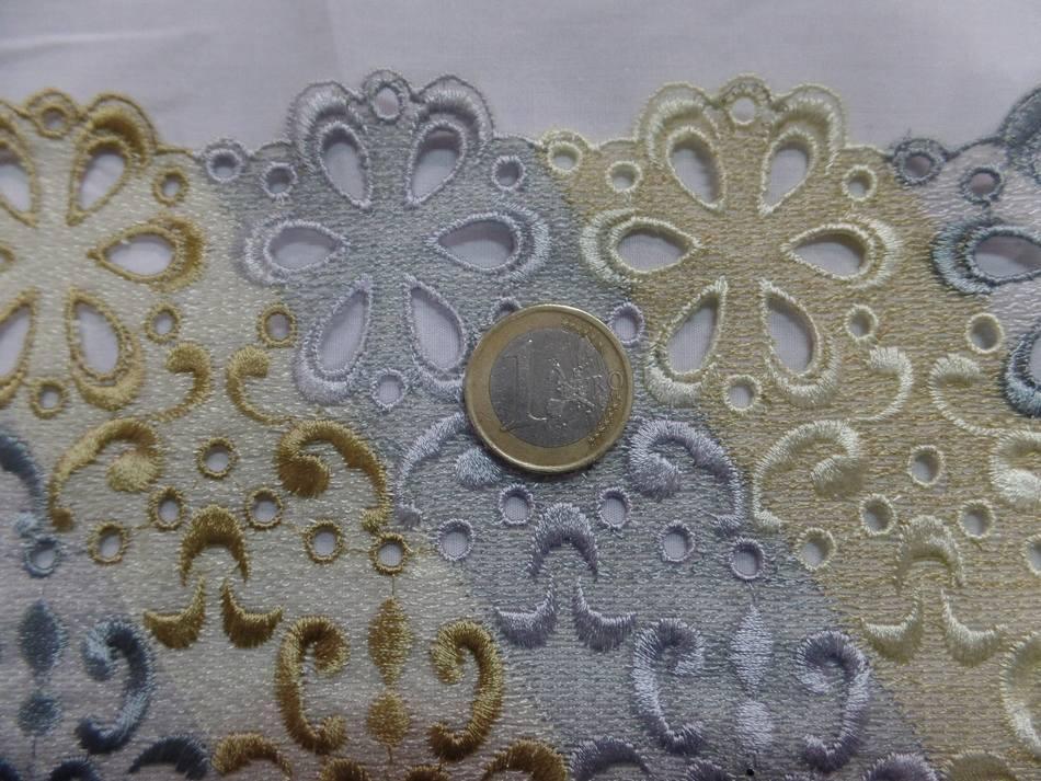 Galon de dentelle ton doré et gris métal en 16cm en ligne