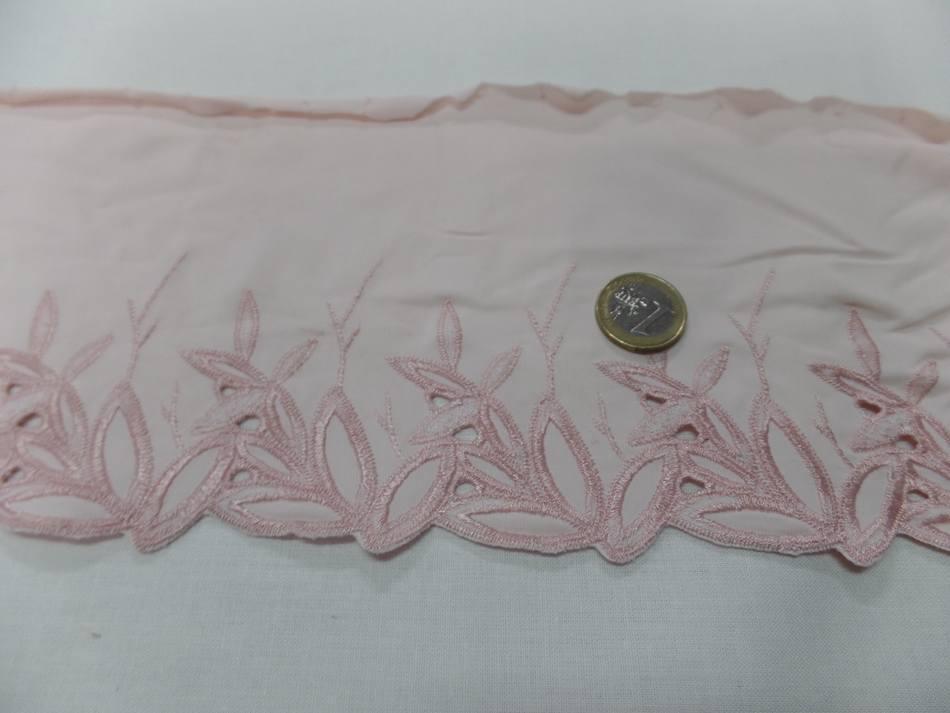 galon de jersey polyester brodé rose clair en 15cm pas cher
