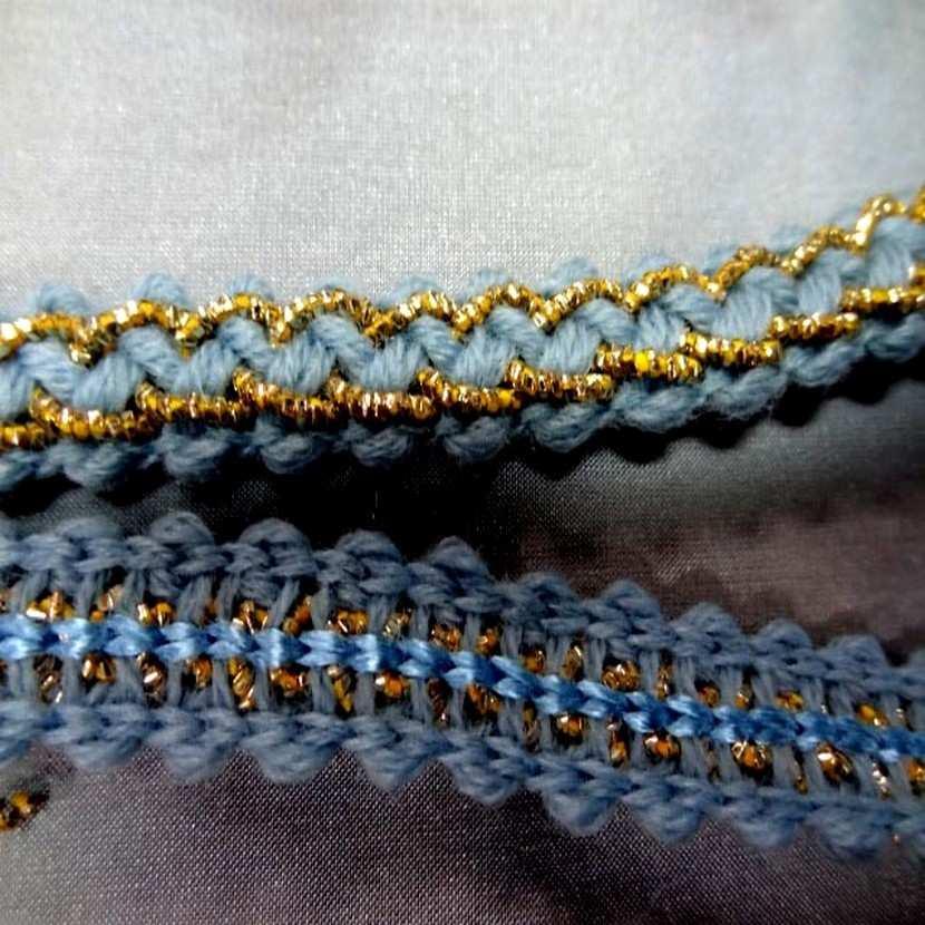 Galon de laine bleu avec fil lurex dore en 1 2 cm5