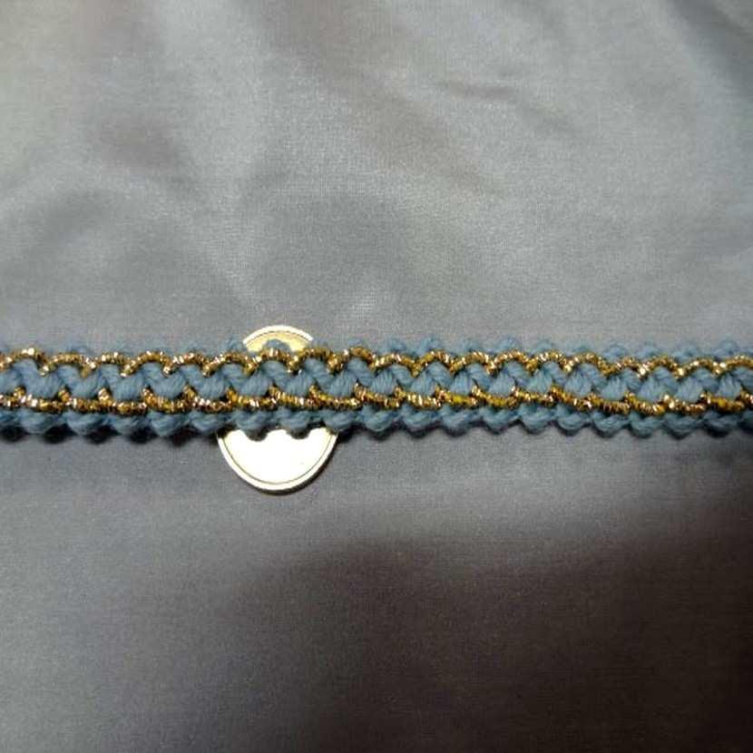 Galon de laine bleu avec fil lurex dore en 1 2 cm7