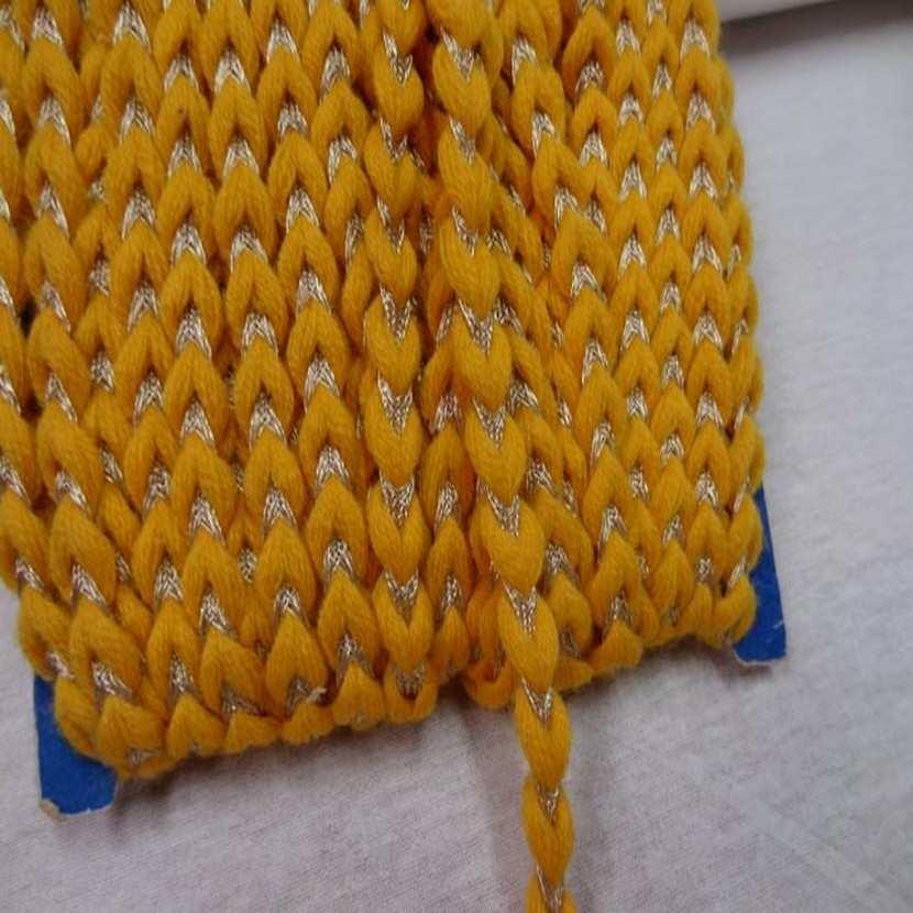 Galon de laine jaune safran lurex dore8