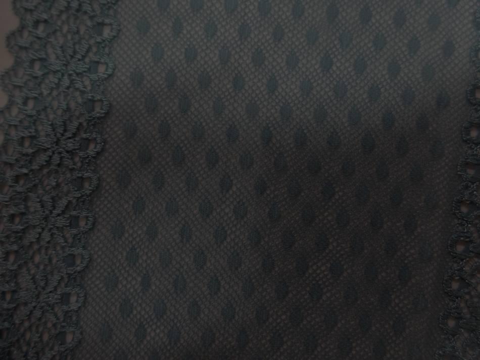 Galon de resille brode gris bleu acier en 12 cm