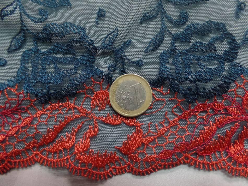 Galon de résille dentelle bleu canard et rouge vermillon en 24 cm de large