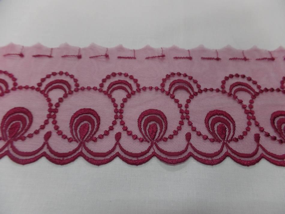 Galon de resille dentelle rose en 12cm