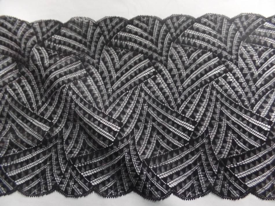 Galon de resille faconne noire en 23 cm