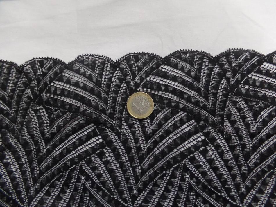 vente de galon de résille brodé noire en 23 cm