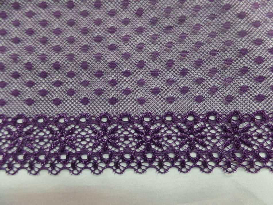 galon de résille façonné ton violet en 16 cm