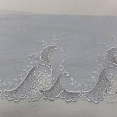Galon de resille grise brode ton blanc et taupe