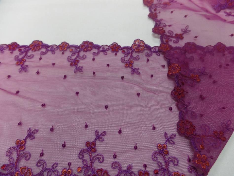 galon de résille prune brodé fleurs en 19cm pas cher