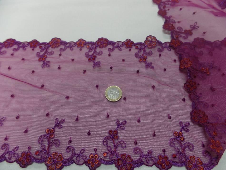 vente de galon de résille prune brodé fleurs en 19cm