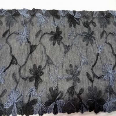 Galon de voile noir brode gris noir en 18 cm