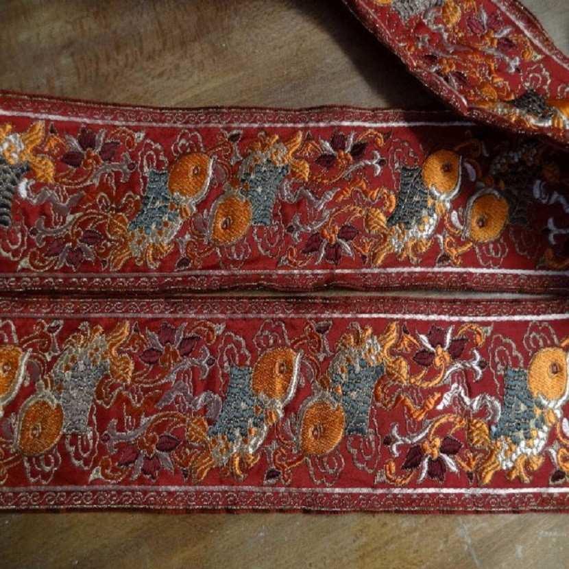 Galon type ancienne motifs carpe avec des fils de soie fil lame or1