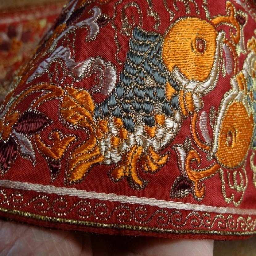 Galon type ancienne motifs carpe avec des fils de soie fil lame or4