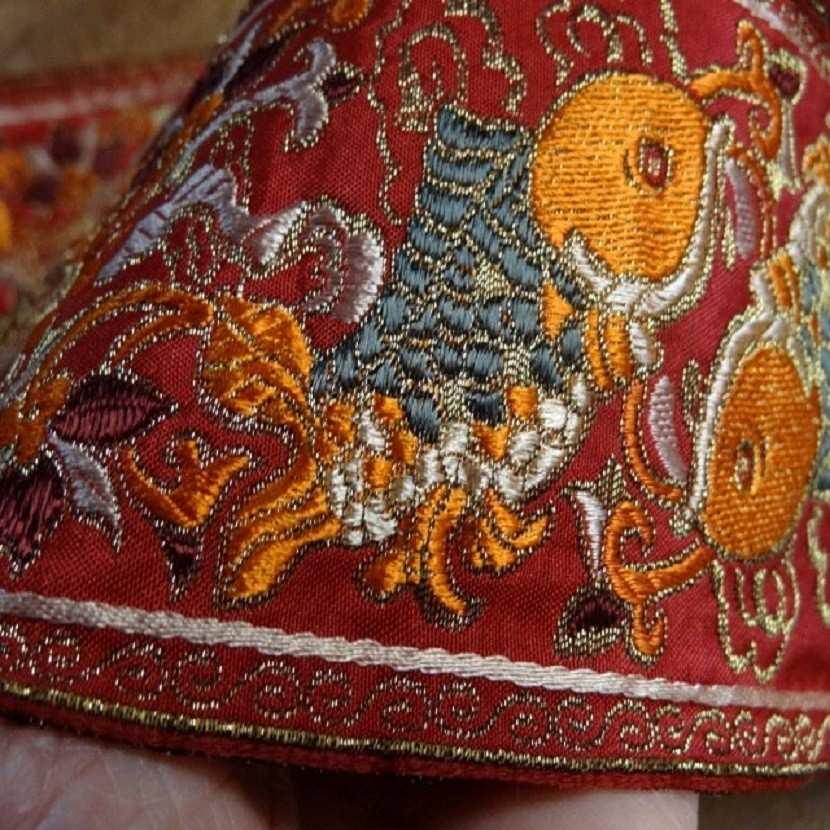 Galon type ancienne motifs carpe avec des fils de soie fil lame or5