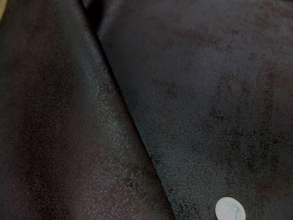 tissu d'ameublement Imitation vieux cuir ton marron foncé