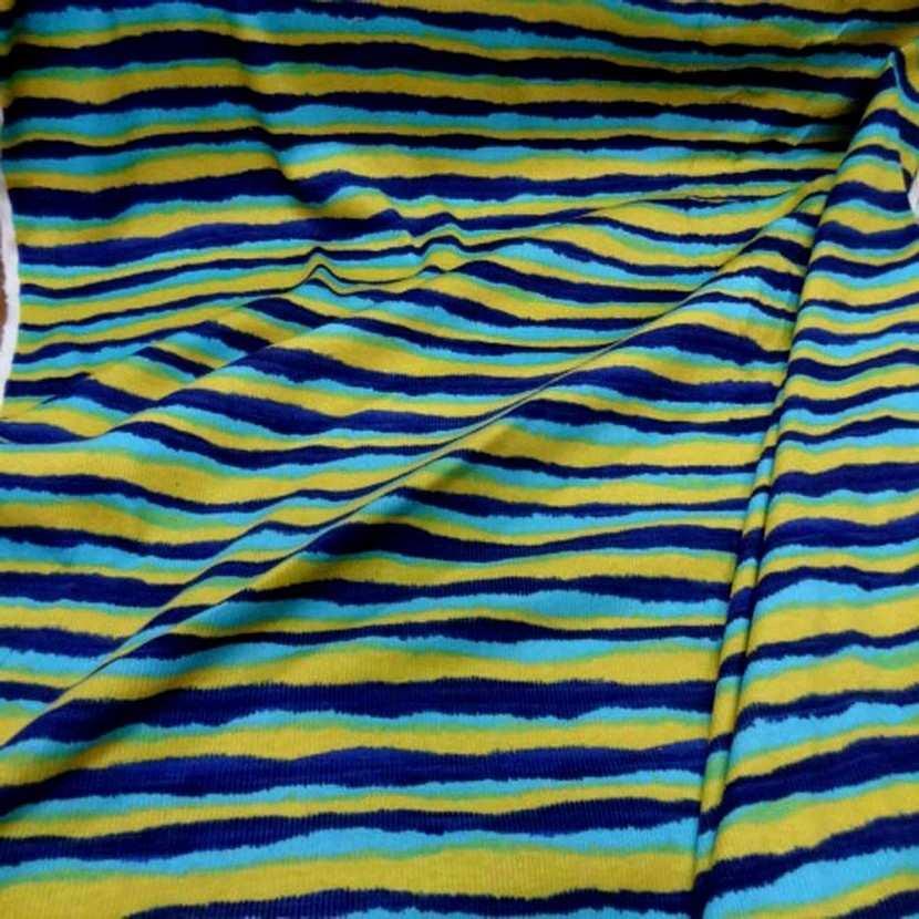 Jersey coton a fine cotes ton jaune bleu