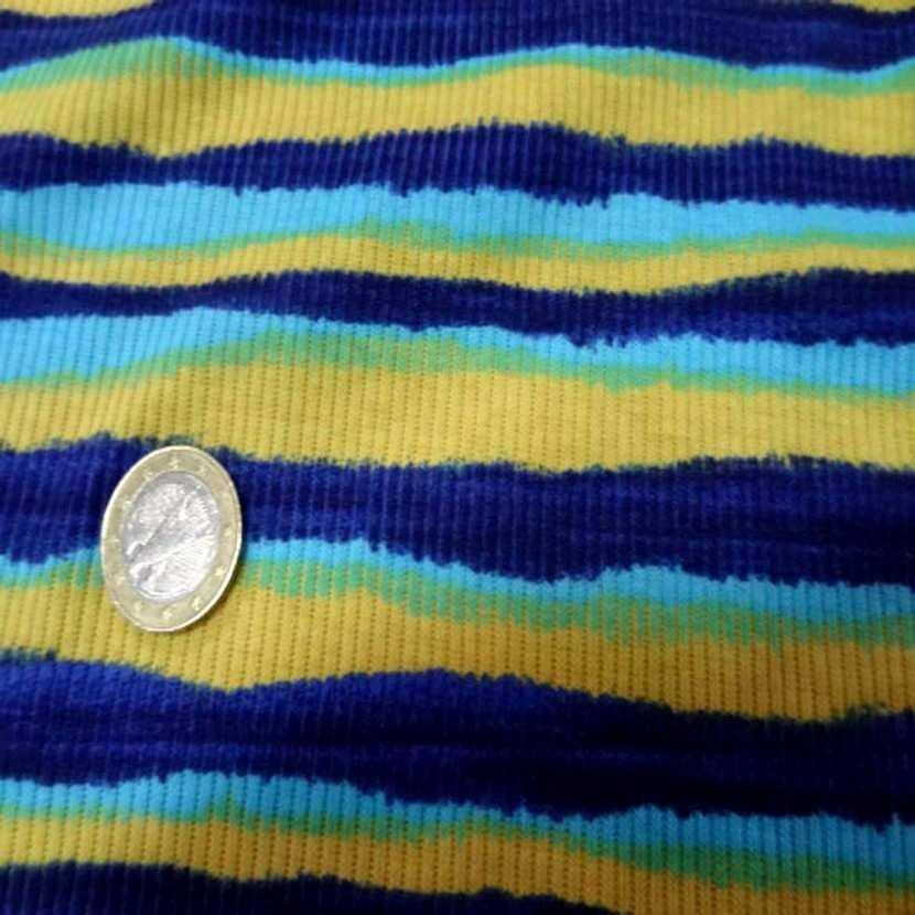 Jersey coton a fine cotes ton jaune bleu2