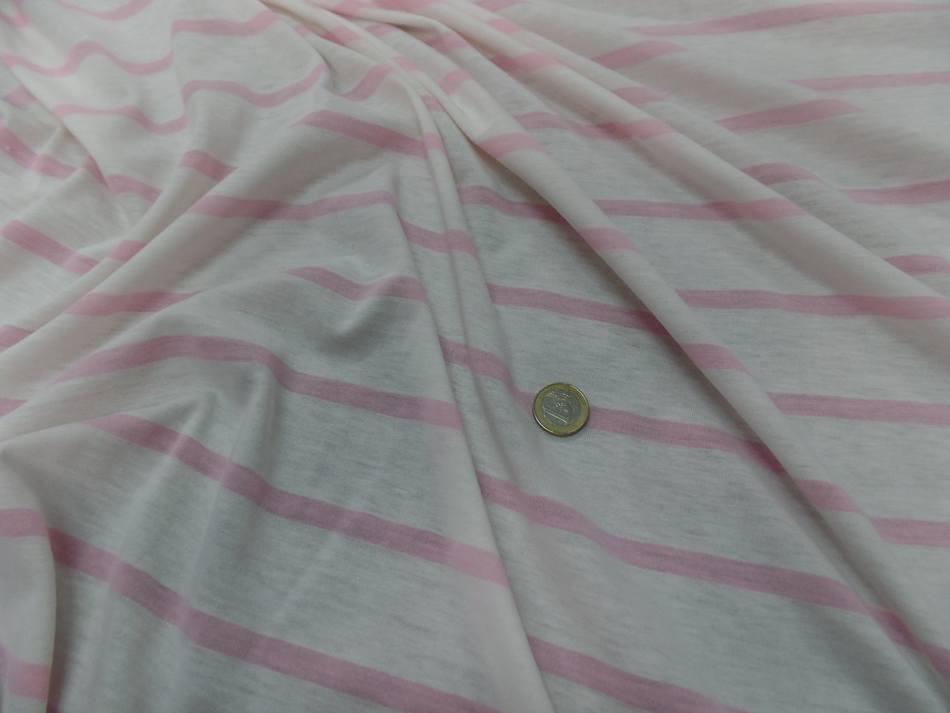vente de tissu jersey coton 100% blanc a rayures rose
