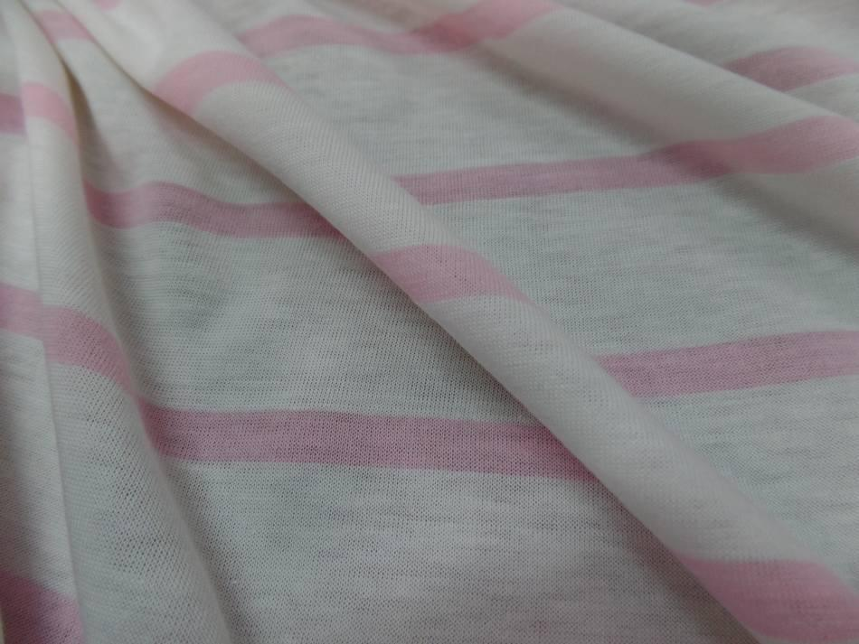 tissu jersey coton 100% blanc a rayures rose en ligne