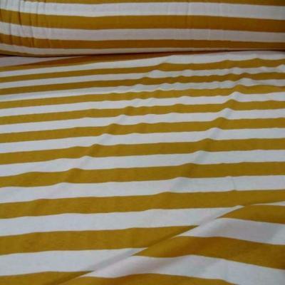 Jersey coton blanc casse raye moutarde