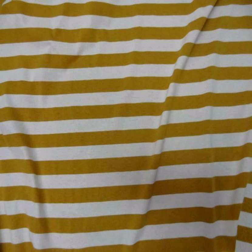 Jersey coton blanc casse raye moutarde06