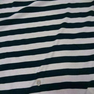 Jersey coton blanc casse raye vert