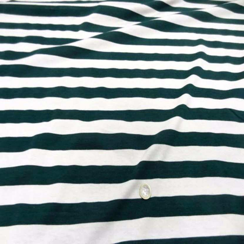 Jersey coton blanc casse raye vert07