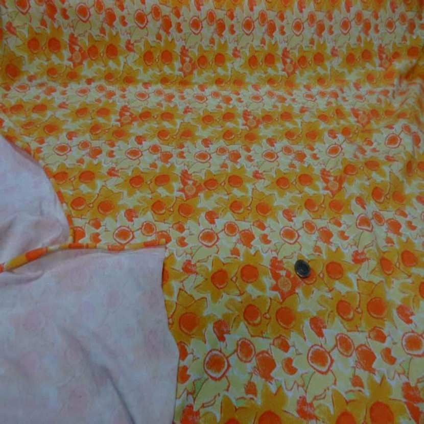 Jersey coton blanc imprime fleurs orange blanc0