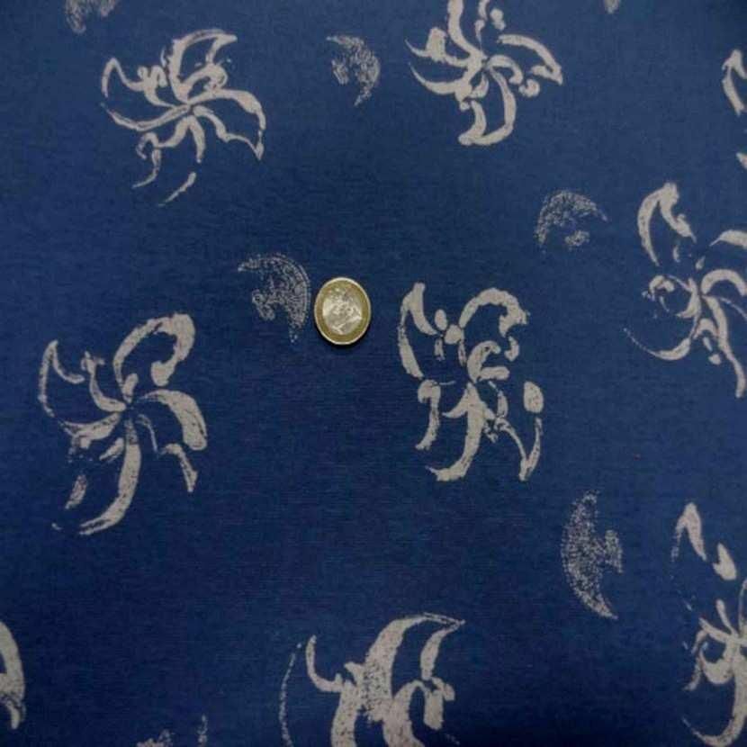 Jersey coton imprime fleurs ton bleu5