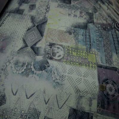 Jersey coton lycra blanc imprime