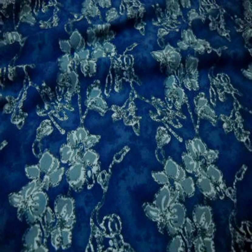 Jersey coton lycra bleu imprime fleurs