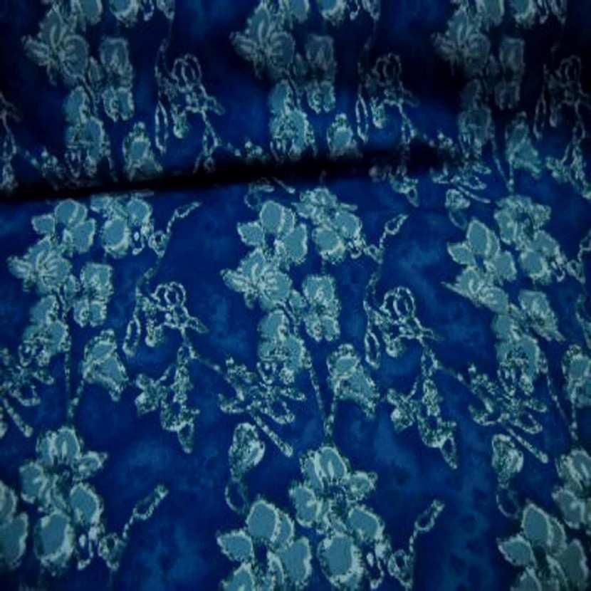 Jersey coton lycra bleu imprime fleurs0
