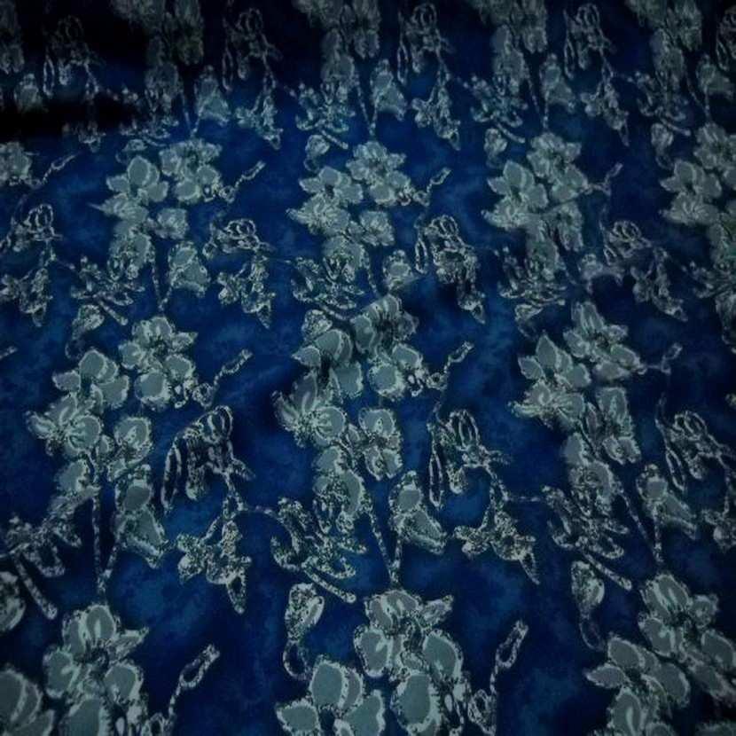 Jersey coton lycra bleu imprime fleurs5