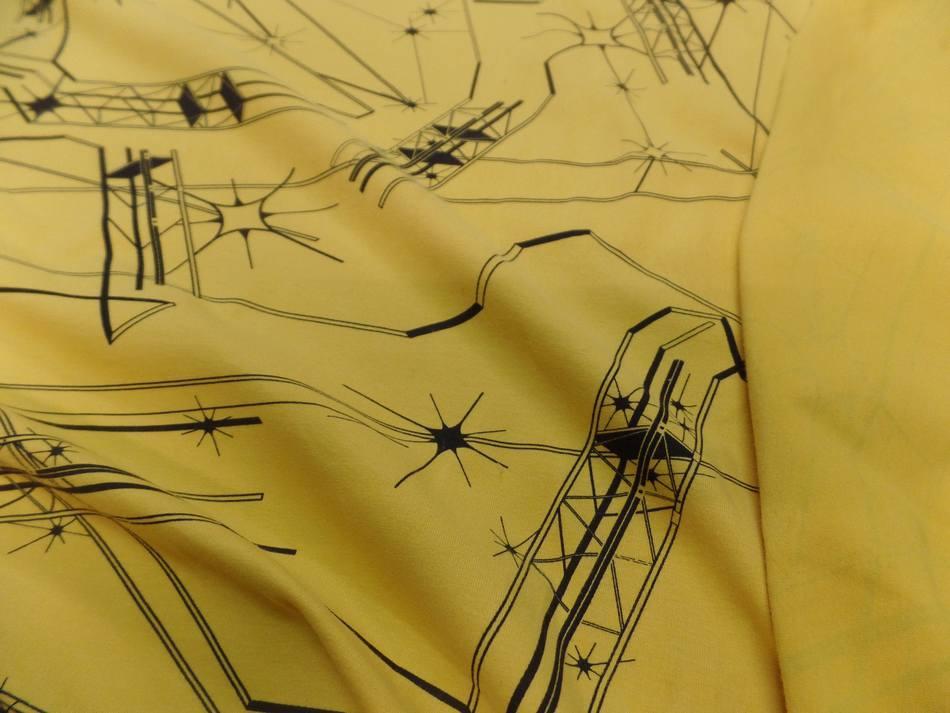 tissu jersey coton lycra imprimé jaune et noir