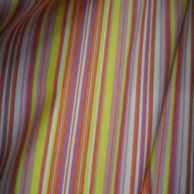 Jersey coton lycra imprime rayures ton jaune orange